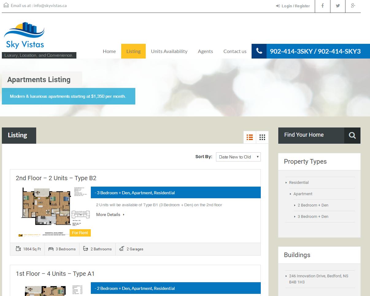 Responsive client website: SkyVistas.ca